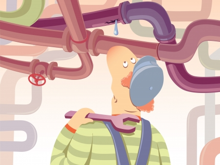 frustrated: The plumber with the spanner is watchin at the waterdrop oozing from the pipe.