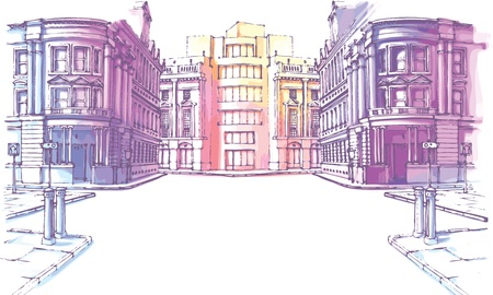 modern huis: De gebouwen - oude en nieuwe - zijn in het city straat in een pasteltinten. Het Stock Illustratie