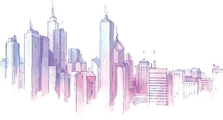De hand-verdrinken skyline van de stad in een pasteltinten.   Stock Illustratie