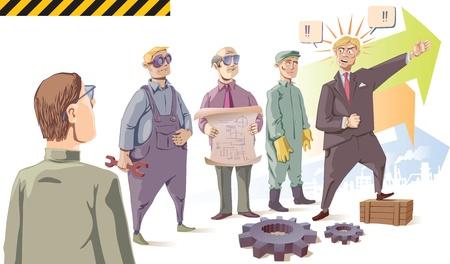 生産性: マネージャーは彼の聴衆 - 産業労働者を情熱的に話しています。孤立した文字のセットです。シーンの前の 2 つの歯車があります。