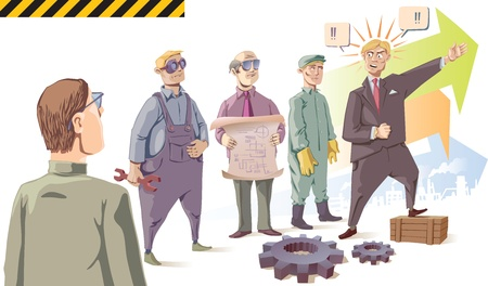 productive: Manager is speaking passionately to his audience - the industrial workers. Set of the isolated characters. There are two gears in the front of the scene. Illustration
