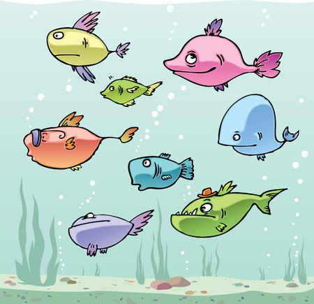 school of fish: Set of the funny cartoon fishes in their habitat. Illustration