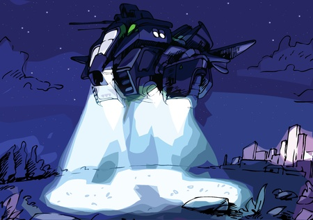 patrolling: The military spacecraft (or the aircraft) with the searchlights is scanning the terrain.
