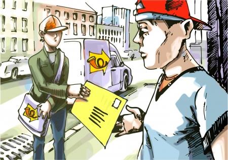 курьер: Почтальон дает почты с парнем в красной шляпе бейсбол. Логотип на стороне автомобиля и сумку почтальона моя фантазия и стилизации. Иллюстрация