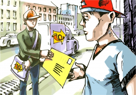 The postman is giving a mail to the guy in a red baseball hat. The logo on the car side and the postmans bag is my fantasy and stylization.