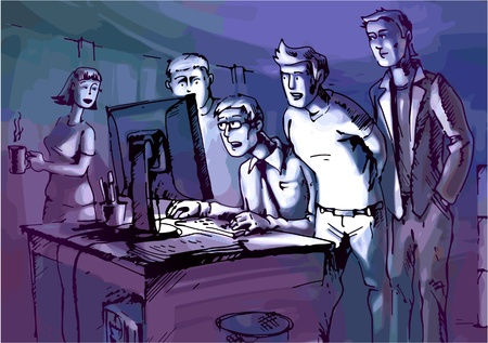 woman watching tv: The four men and the woman are looking at glowing computer monitor. Illustration