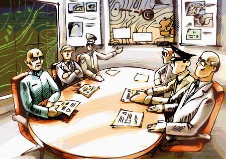 quartier g�n�ral: Les officiers et les commandants sont d�lib�rer.