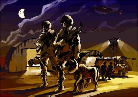 Dos soldados con el perro están patrullando la base militar por la noche. Ilustración de vector