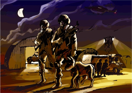alertness: Two soldiers with the dog are patrolling the military base by night.