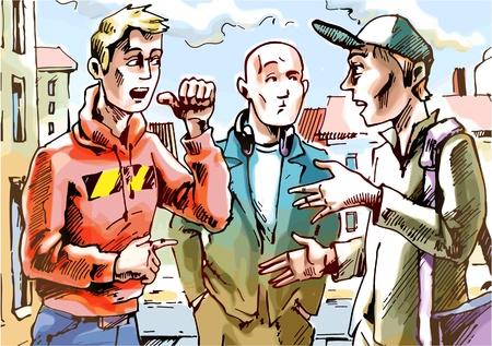 The three men are talking on the street. Illustration
