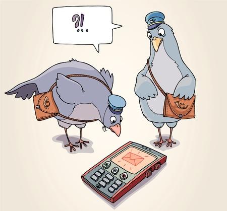 Twee postduiven zijn verwondering naar de SMS te ontvangen.