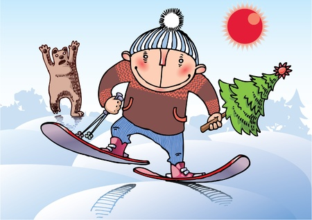 The young man on skis is running away from the wild bear. He had stole a Christams tree! Vector