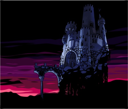 The Dark castle at the sunset. Vector