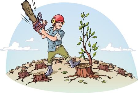 catastrophe: Le bucheron avec la scie � cha�ne est coupant le dernier arbre dans une for�t.