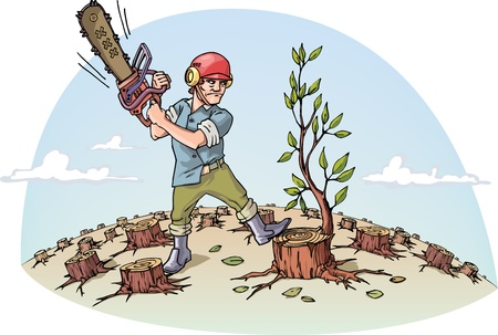 woodcutter: The woodcutter with the chainsaw is cutting the last tree in a forest.