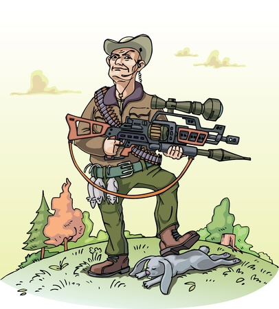 A vector illustration of a heavy armed hunter and his poor bag.