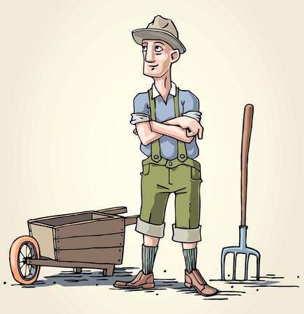 hillbilly: The farmer and his wheelbarrow.