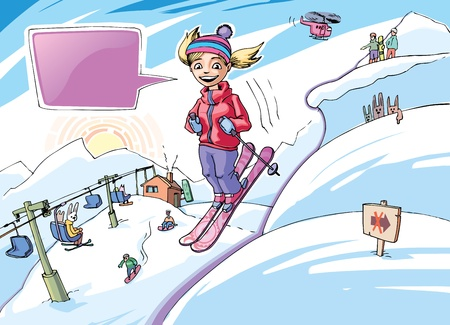 The smiling girl is freeriding in the big mountains (the purple bubble and  the warning sign is placed on the separate layers). Stock Vector - 10222470
