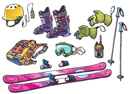 De set van de uitrusting van een backcountry freerider: de freeride ski, de bindingen, de skischoenen, de harde hoed met de goede rit muziek, de bril, de rugzak met twee skistokken, de handschoenen en de waterdichte hoog bereik radio. Vector Illustratie