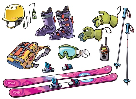 The set of the equipment of a backcountry freerider: the freeride ski, the bindings, the ski boots, the hard hat with the good ride music, the goggles, the backpack with two ski poles, the gloves and the waterproof high range radio. Stock Vector - 10222452