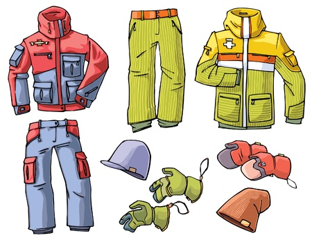 Set of the clothes for a skiing or a snowboarding - the pants, jackets, caps and gloves. Vector