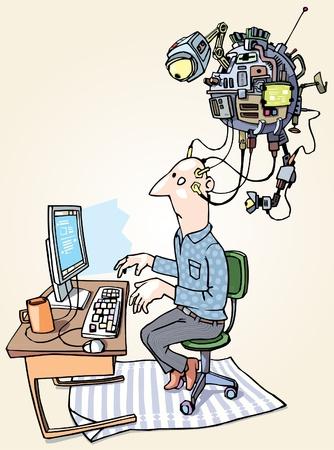 De man met de superdevice met hem verbonden is workin op de computer.