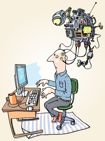 The man with the superdevice connected to him is workin on the computer. Stock Vector - 10222422