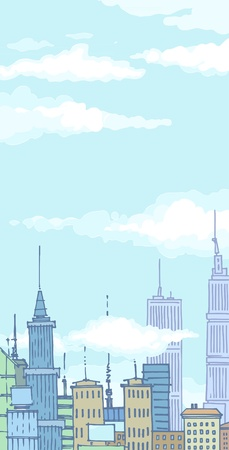 The clouds in the sky above the city. Vector