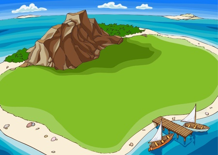 ocean view: Small island in the middle of the Pacific Ocean. Illustration