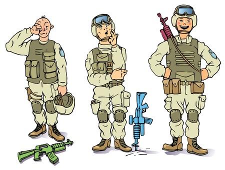 cartoon soldat: Es gibt die drei Soldaten bei der US Army einheitliche - die traurig, die nachdenklich und die glücklich.