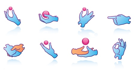 tossing: Some vector hands web icons. Illustration