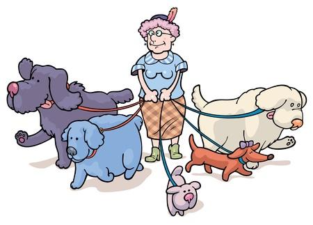 De oude vrouw is wandelen met de honden Stock Illustratie