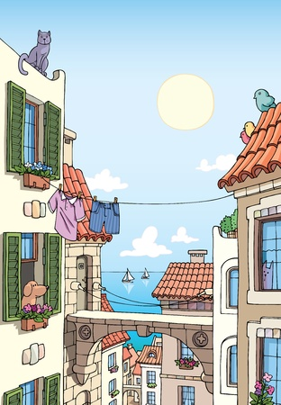 exteriors: Old Mediterranean city buildings with tile roofs and the sea view at the distance.