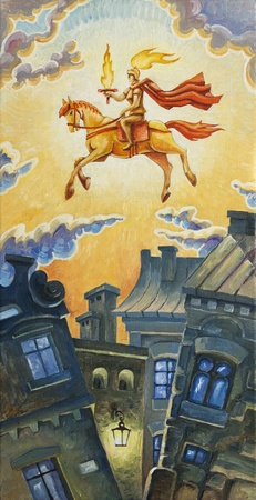 The knight with the burning sword is riding the horse in the morning sky. The oil painting 30x60 cm. Artwork by Alex Tsuper.