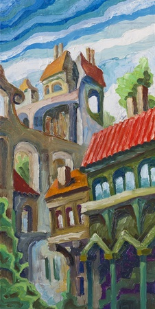 narrow: The old city buildings are standing too close at the narrow street. Artwork by Alex Tsuper. Oil on canvas, 20 x 40 cm. Stock Photo