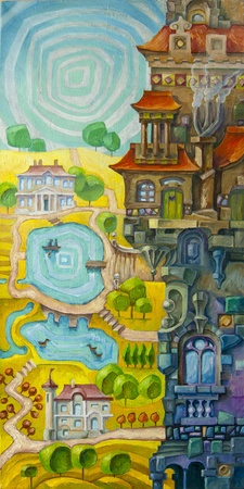 The tall whimsical building with a many architectural elements is situated in a foreground, and the sunny valley with the lakes and the stream is in a background of the scene.