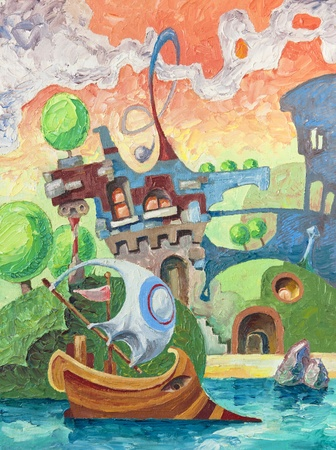 riverside landscape: The ancient ship is gliding the water surface. There are a whimsical buildings on land. Artwork by Alex Tsuper. Oil on canvas, 30 x 40 cm.
