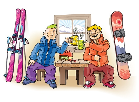 Two young friends - the skier and the snowboarder - are drinking something hot. Vector