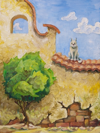 a small painting: The cat is sitting on the old yellow wall and looking at the small green tree  My oil painting