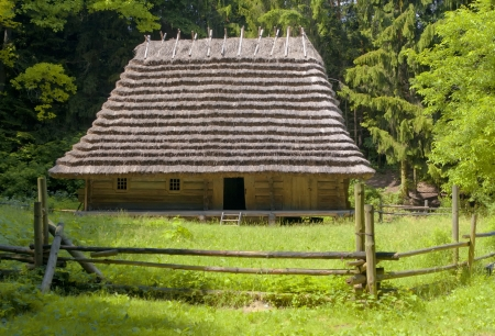thatched house: Old traditional wooden house  Ukraine   Editorial
