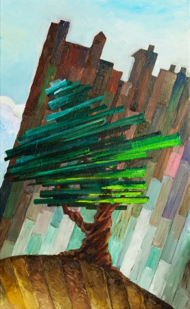 The oil painting with the pine tree standing in front of the wall. My artwork, oil on canvas, 40 x 65 cm. photo