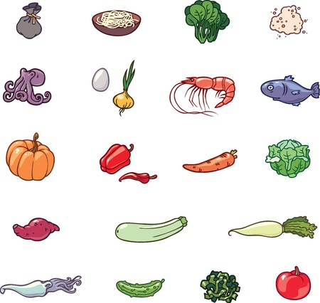 The set of the food products illustrations. There are the vegetables, the sea food, the noodles and the others. Vector