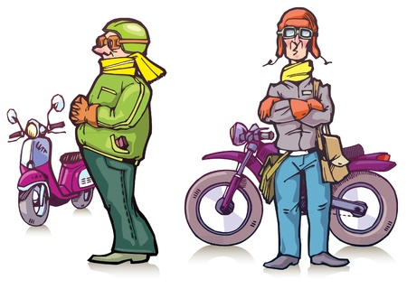 The bikers are standing near their bikes Vector