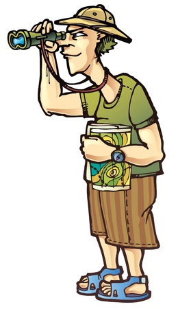 A traveler with the binoculars and the topographic map Stock Vector - 12482836