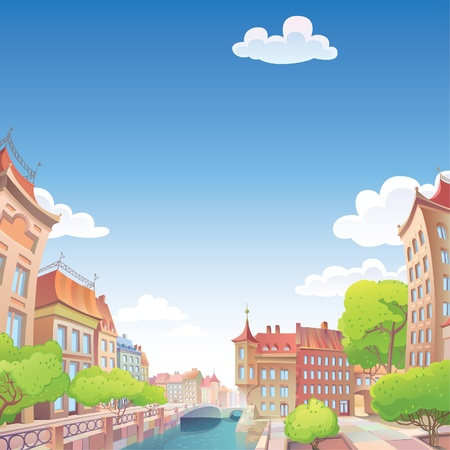 The view on the old European city street and the river quay   Stock Vector - 12482843