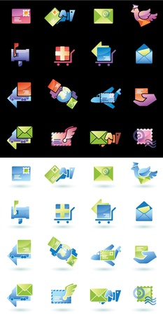 Mail delivery and shipping web icons set  Vector