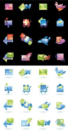 Mail levering en verzendkosten web icons set