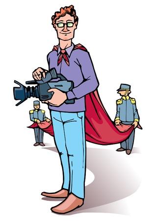 Le metteur en scène se tient debout avec l'appareil photo. Vecteurs