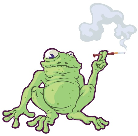 The fat frog is smoking the cigarette Ilustracja