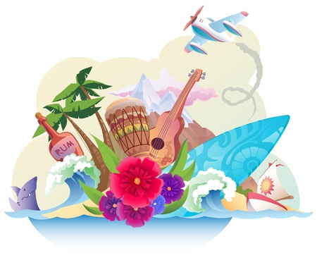 The tropical island with its music, surfing and the carefree lifestyle.  Vector